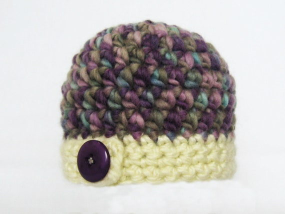 Hat Crochet PATTERN - Bulky Button Flap Beanie - 7 sizes PDF download winter hat boy girl child adult