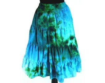 Girls Tie Dye Skirt / Tiered Ruffle Skirt / Ocean Design / Eco-friendly Dyeing