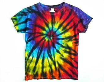 Ladies Tie Dye Shirt, Rainbow Spiral With Black Design, Eco-friendly Dyeing