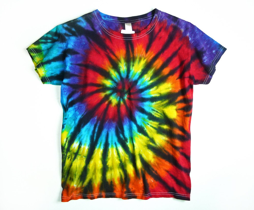 Ladies Tie Dye Shirt Rainbow Spiral With Black Design