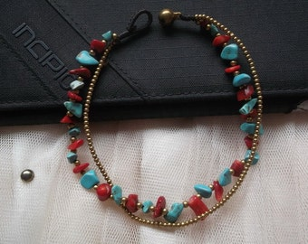 Smoothly Valentines day red coral turquoise nugget little brass chain anklet/Cyber Monday /Christmas gift /long holiday /vacation /summer