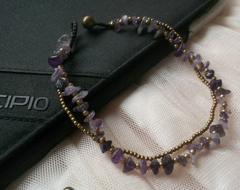 Smoothly anklet/Amethyst anklet/small brass chain anklet/Hawaii anklet/Summer anklet/Thankgiving gift/for her/fall jewelry/Autumn trends/chi