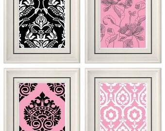 Set of Four Modern Vintage Pink/Black Wall Art - Print Set - Home Decor - 8x11 Prints (Unframed)