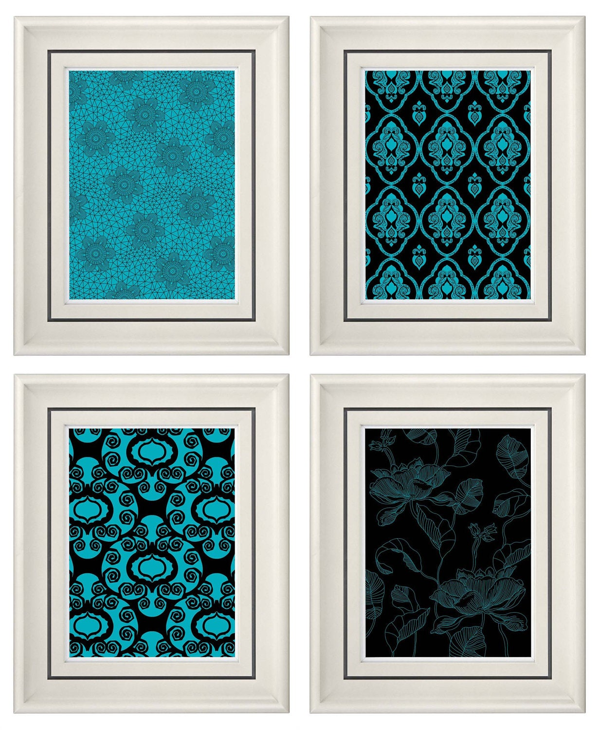 Set Of Four Modern Vintage Turquoise Black Wall Art By Catsbeads