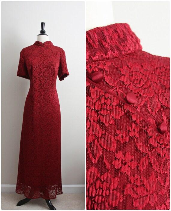 80's Dark Red Cheongsam Lace Maxi Dress. Size M/L
