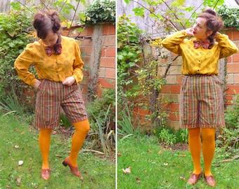 80s kaki green rust mustard plaid cuffed pleated highwaisted bermuda shorts M