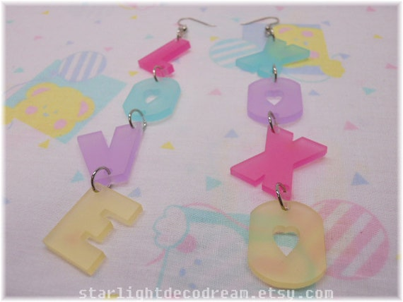 Pastel LOVE XOXO Acrylic Dangle Earrings for Fairy Kei Decora or Kawaii Fashion