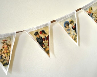 Retro fabric bunting. Summer vintage party garland. French style decoration. Shabby chic