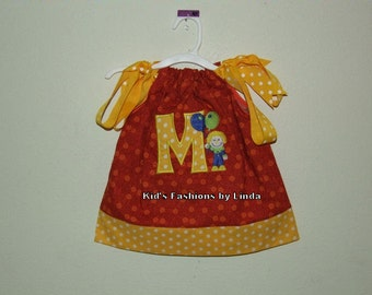 Texas Orange /Yellow Polka Dot Circus Dot Clown Theme Birthday Dress with Applique Letter