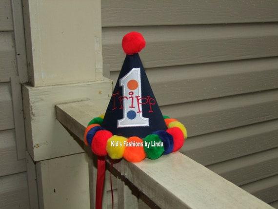 Personalized Navy Circus Pom Pom Birthday Hat