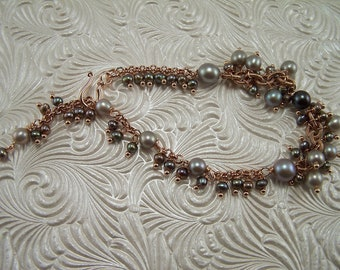 Black & Gray Pearls with Rose Gold Rolo Chain Bracelet 213BA