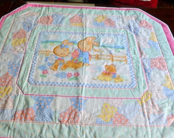 Baby Quilt Panel Bunnys in Bright Colors