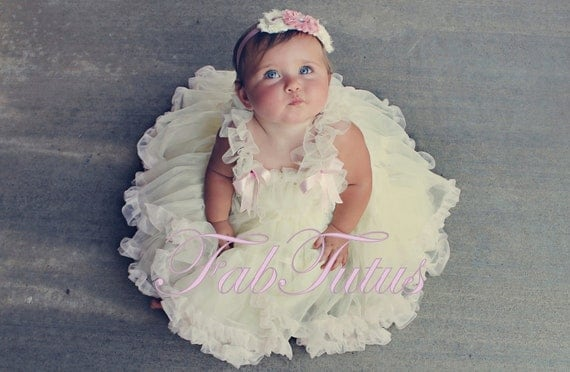 Custom order for Cory - Ruffles and Bows -petti dress by FabTutus in custom colors, matching lace headband