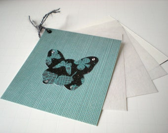 Butterfly Notecard Stationery Handmade Turquoise Black