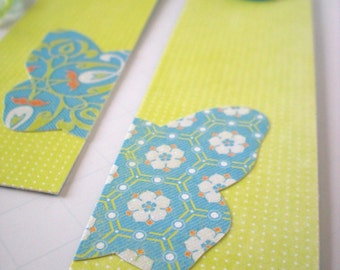 Handmade Bookmarks Set of 2 OOAK Vintage Buttons Butterfly Citron Turquoise Aqua