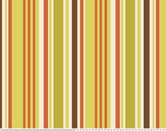 04284- Zoe Pearn  for Riley Blake Indian Summer Stripe in Green color- 1 yard