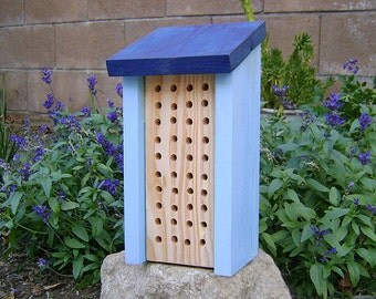 Solitary BEE HOUSE, Blue, Insect Hotel, Handmade