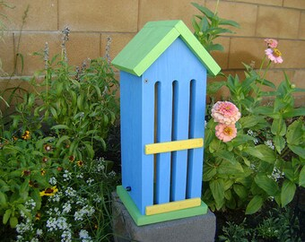 BUTTERFLY HOUSE, Blue, Green, Yellow, Insect Hotel. Hand Made, Hand Painted Pine.