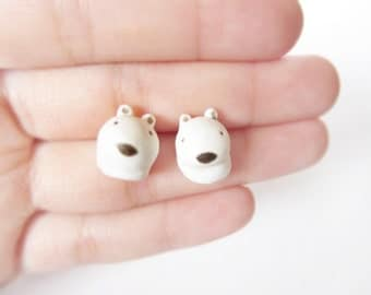 Miniature polar bear earrings