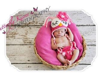 Newborn Baby Girl Sleepy Crochet OWL Hot Pink n PINK Diaper Cover -n- Beanie Hat Set -- Great Photo Prop