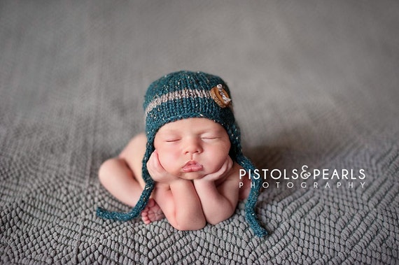 Little Boy Button Earflap Hat for Newborn in Jacquard