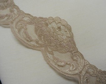 """2 Yds -""""Beige Waterlily"""" Lace- Home Decor, Sewing, Victorian, Weddings,  Sewing,2.5 inches wide"""