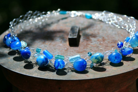 Handmade Sterling Silver Crocheted Necklace in Shades of Blue