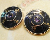 Nice Gold With Swirl Enamel in Purple, Blue and Gold and a Purple Stone Earrings- Pierced