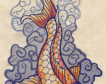 Koi in Ocean Waves Seven Seas Tattoo Style Embroidered Flour Sack Hand/Dish Towel