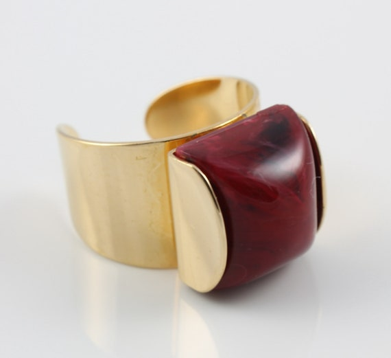EMMONS jewelry Modernist Burgundy cabochon Ring size 7