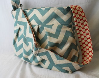 Emma Chevron Diaper Bag Medium Purse Blue Chevron - 6 pockets Adjustable Strap - Custom Made to Order