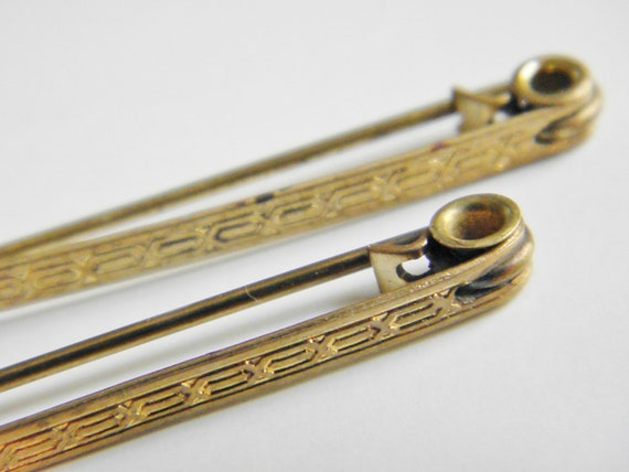 Pair Vintage Art Deco Etched Gold Bar Pins, 1920s