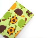 Boys A6 notebook or journal, bright lime green brown orange fun turtles, 2013 planners for kids