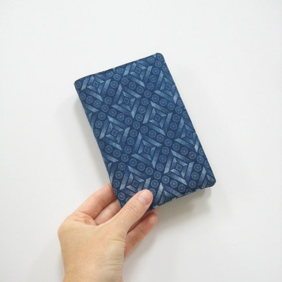 Cover for pocket Moleskine notebook, Monaco blue stars night sky geometric diamonds circles, fits 9x14cm Moleskine hardcover