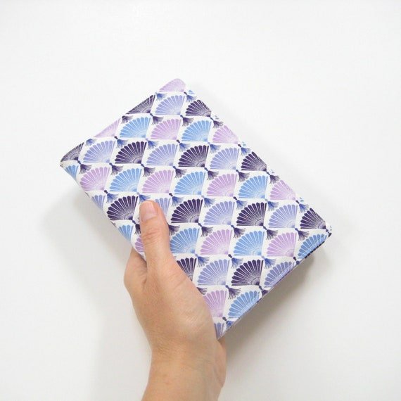 2014 planner with fabric cover, purple blue white fans, 2014 agenda, hardcover A6 notebook, gift idea for her