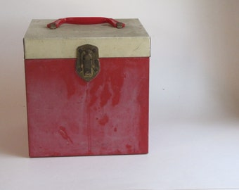 Vintage Distressed Square Cube Red and Cream Metal Storage Box