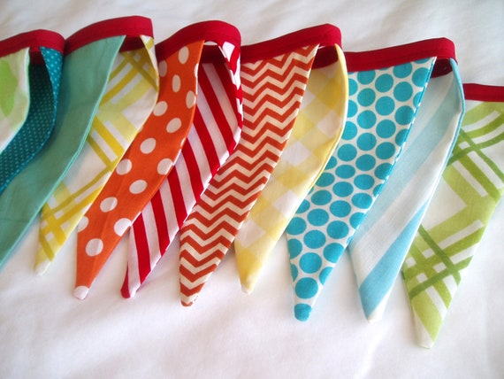 Fabric Flag Bunting Garland- Party Banner-Rainbow Colors- Birthday Banner- Circus Flags