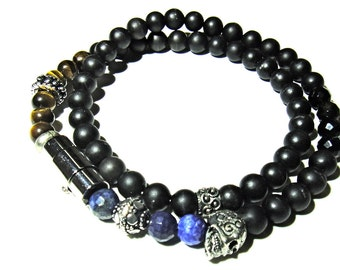 TREASURE II. 6mm Double Wrap Onyx and other mens bracelet