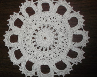 Crocheted White Doily (002)