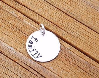 """1/2"""" Personalized sterling silver disc"""