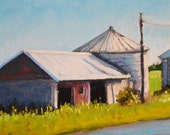 Original Landscape Painting, Fingerlakes Barn 6x8 pastel - Daily Painting