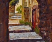 Original Landscape Painting, Le Baux Alleyway 6x8 oil on canvas panel - Daily Painting