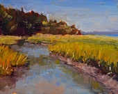 Original Landscape Painting, Summer Marsh II 5x7 oil on panel - Daily Painting