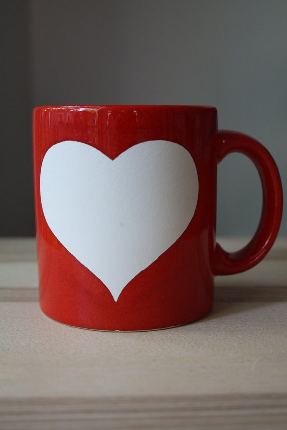 2 Red Waechtersbach Heart Mugs