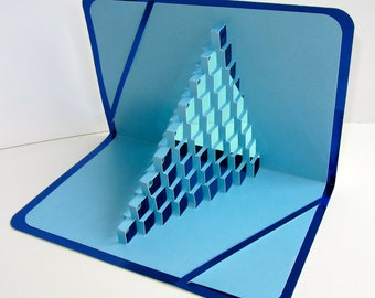 GRADUATION STEPS To SUCCESS Pop Up 3D Card Intricate With Light Shining Through Home Décor Handmade in Turquoise and Blue Metallic OoAK