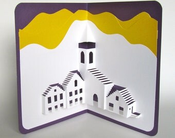 Pop-Up 3D Card Origamic Architecture Handmade Depicts a Mediterranean Landscape in White, Shimmery Yellow and Royal Purple Home Décor OOAK