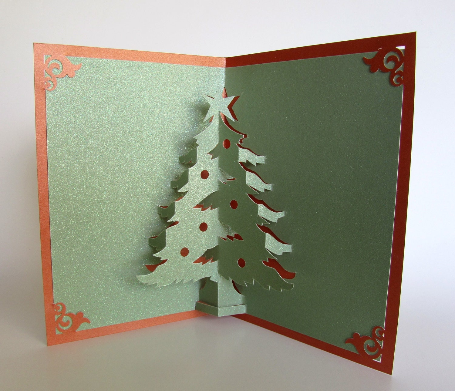 Christmas tree pop up up greeting card home d cor 3d handmade for 3d christmas cards to make at home