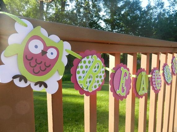 Owl Name Banner Polka Dot