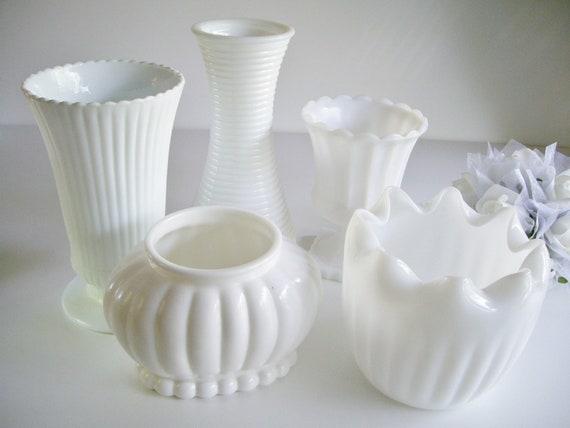 Milk Glass Vase and Planter Collection - 5 piece - Vintage Wedding, Bridal Shower or Baby Shower
