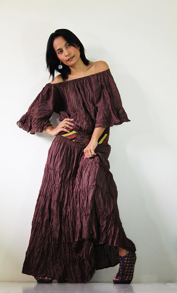 Brown Maxi Dress Tie Dye Sweetie Boho Cotton Gown : Exotic Collection